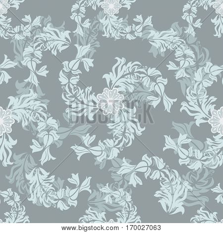 Seamless grey floral vector pattern. Wrapping paper, wallpaper, upholstery print template.