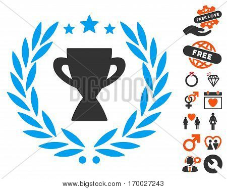 Glory Emblem pictograph with bonus lovely pictograms. Vector illustration style is flat iconic symbols for web design app user interfaces.