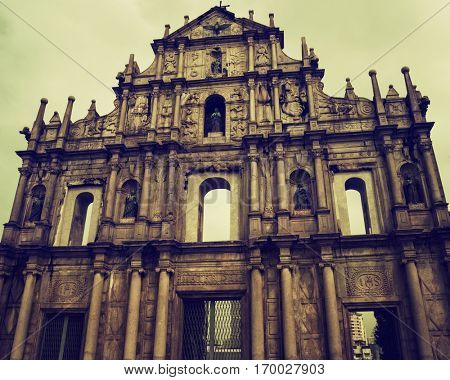 Macao - October 2016: Famous Ruins of St. Paul's Church. Retro look.