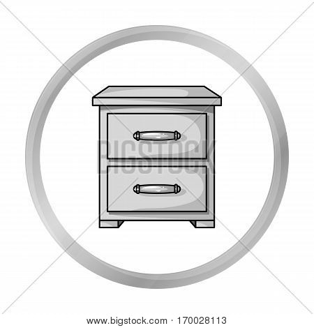 Bedside table icon in monochrome style isolated on white background. Furniture and home interior symbol vector illustration.