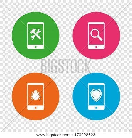 Smartphone icons. Shield protection, repair, software bug signs. Search in phone. Hammer with wrench service symbol. Round buttons on transparent background. Vector
