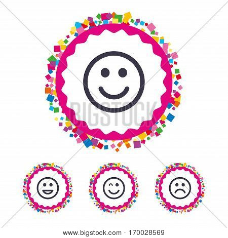 Web buttons with confetti pieces. Smile icons. Happy, sad and wink faces symbol. Laughing lol smiley signs. Bright stylish design. Vector