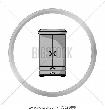 Closet icon in monochrome style isolated on white background. Furniture and home interior symbol vector illustration.