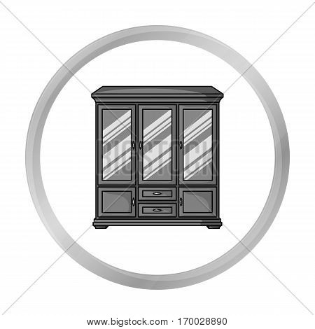 Classical cupboard icon in monochrome style isolated on white background. Furniture and home interior symbol vector illustration.