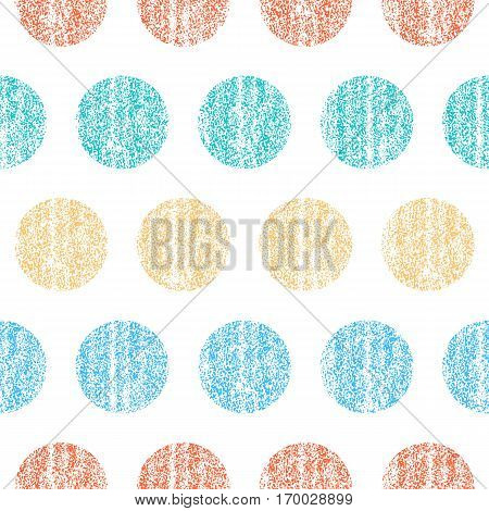 Seamless pattern with color polka dots. Circle shape with old painted texture. Retro vintage wallpaper. Vector illustration a graphic element.