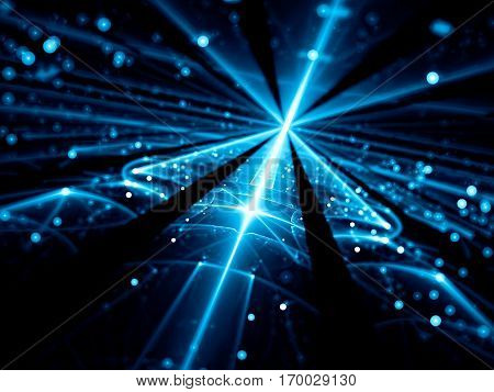 Blurred technology background - abstract computer-generated image. Shiny blue glass surface with glowing lines and bright bubbles bokeh. Future tech, cosmos or vr concept backdrop.