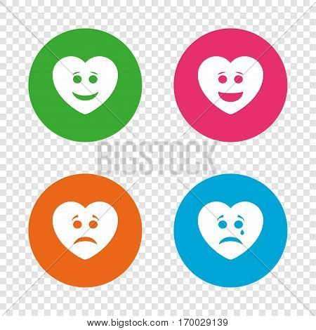 Heart smile face icons. Happy, sad, cry signs. Happy smiley chat symbol. Sadness depression and crying signs. Round buttons on transparent background. Vector