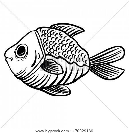 black and white fish cartoon illustration isolated on white