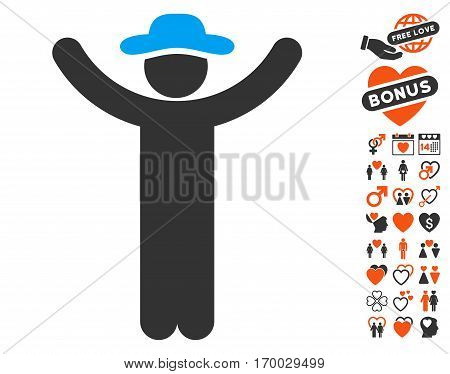 Hands Up Gentleman pictograph with bonus passion pictograms. Vector illustration style is flat iconic elements for web design app user interfaces.