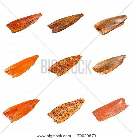 Set Of A Different Fillet Salmon Fish