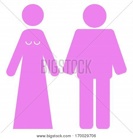 Married Groom And Bribe vector icon symbol. Flat pictogram designed with violet and isolated on a white background.