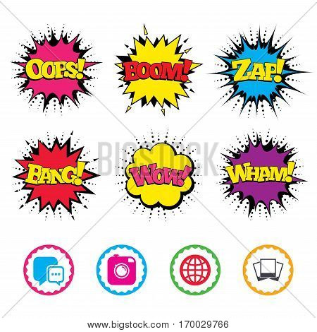 Comic Wow, Oops, Boom and Wham sound effects. Social media icons. Chat speech bubble and world globe symbols. Hipster photo camera sign. Photo frames. Zap speech bubbles in pop art. Vector