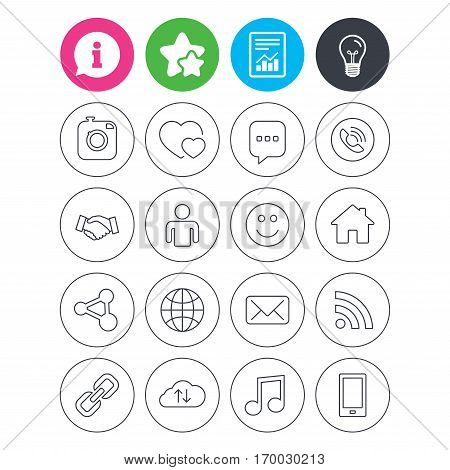 Information, light bulb and report signs. Social media icons. Speech bubble, lovers relationships and human person. Rss, share and mail envelope. Musical note, smartphone and smile. Vector