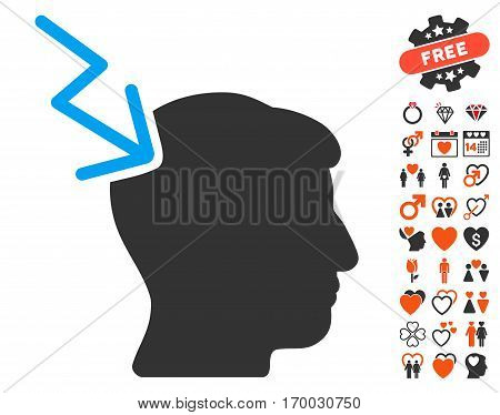 Head Electric Strike pictograph with bonus dating images. Vector illustration style is flat iconic symbols for web design app user interfaces.
