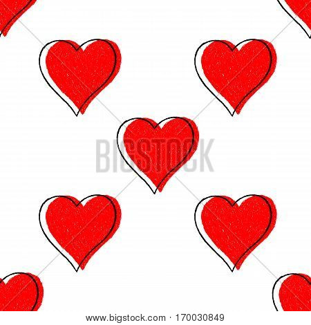 Sketch drawing seamless pattern with red heart sign with black line contour. Quick and easy re-colorable shape. Vector illustration a graphic element.