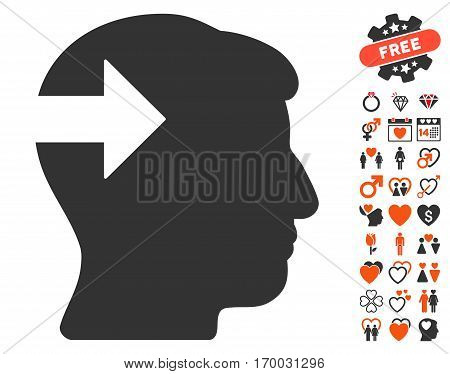 Head Plug-In Arrow icon with bonus dating pictograph collection. Vector illustration style is flat iconic symbols for web design app user interfaces.