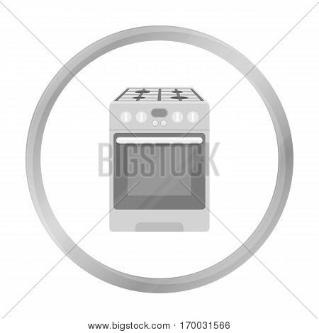 Kitchen stove icon in monochrome style isolated on white background. Household appliance symbol vector illustration.
