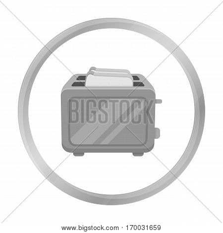 Toaster icon in monochrome style isolated on white background. Household appliance symbol vector illustration.