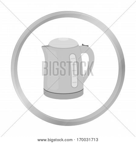 Electrical kettle icon in monochrome style isolated on white background. Household appliance symbol vector illustration.
