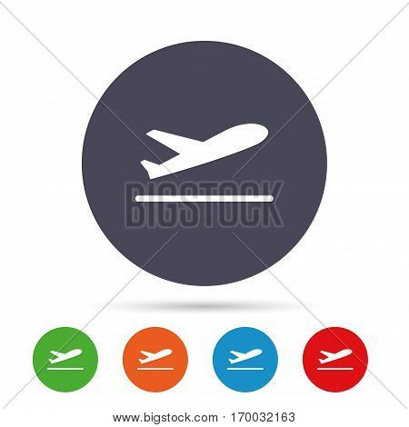 Plane takeoff icon. Airplane transport symbol. Round colourful buttons with flat icons. Vector