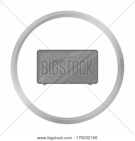 LCD television icon in monochrome style isolated on white background. Household appliance symbol vector illustration.