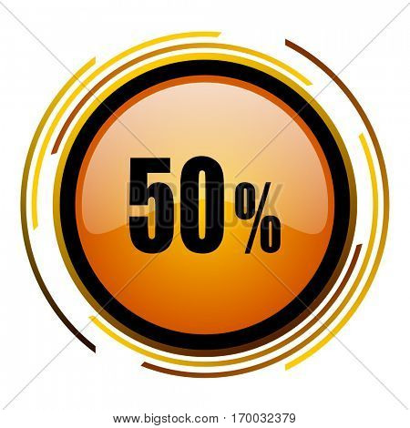 50 percent sale sign vector icon. Modern design round orange button isolated on white square background for web and application designers in eps10.