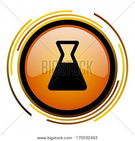 Lab sign vector icon. Modern design round orange button isolated on white square background for web and application designers in eps10.