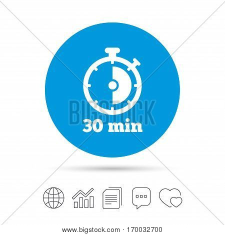 Timer sign icon. 30 minutes stopwatch symbol. Copy files, chat speech bubble and chart web icons. Vector