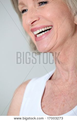 Closeup of senior woman with beautiful smile