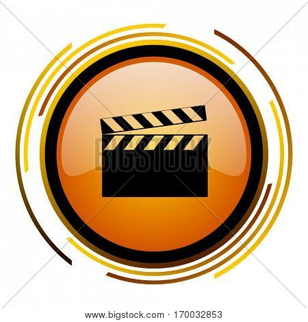 Cinema video sign vector icon. Modern design round orange button isolated on white square background for web and application designers in eps10.