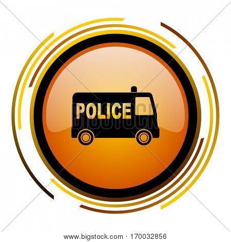 Police sign vector icon. Modern design round orange button isolated on white square background for web and application designers in eps10.