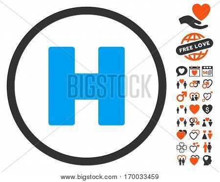 Helicopter Landing pictograph with bonus decorative pictures. Vector illustration style is flat iconic elements for web design app user interfaces.