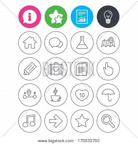 Information, light bulb and report signs. Universal icons. House building, speech bubbles and first aid box. Copy documents, like counter and hot coffee drink. Map pointer, arrow and favorite star