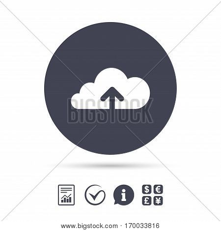 Upload from cloud icon. Upload button. Load symbol. Report document, information and check tick icons. Currency exchange. Vector