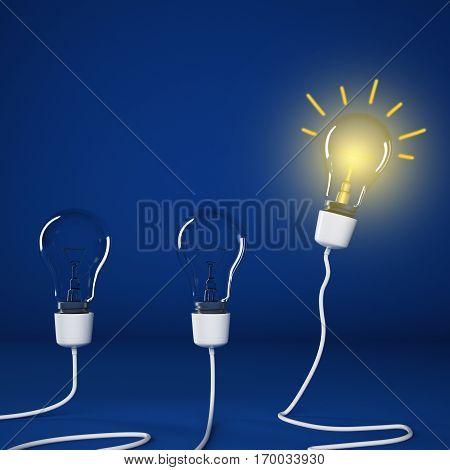 Bright bulbs lit between unlit bulbs. Successful and intelligent idea 3D Rendering