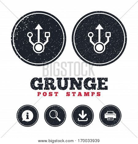 Grunge post stamps. Usb sign icon. Usb flash drive symbol. Information, download and printer signs. Aged texture web buttons. Vector