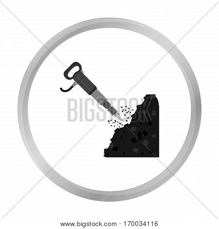 Jackhammer icon in monochrome style isolated on white background. Mine symbol vector illustration.