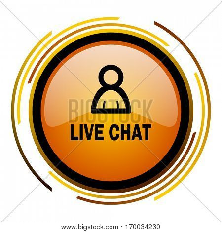 Live chat sign vector icon. Modern design round orange button isolated on white square background for web and application designers in eps10.