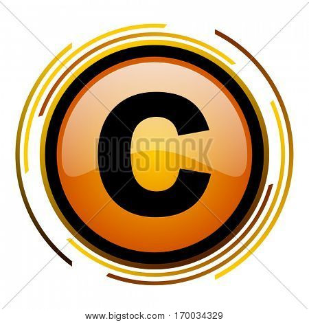 Copyright sign vector icon. Modern design round orange button isolated on white square background for web and application designers in eps10.