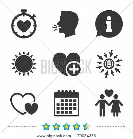Valentine day love icons. Love heart timer symbol. Couple lovers sign. Add new love relationship. Information, go to web and calendar icons. Sun and loud speak symbol. Vector
