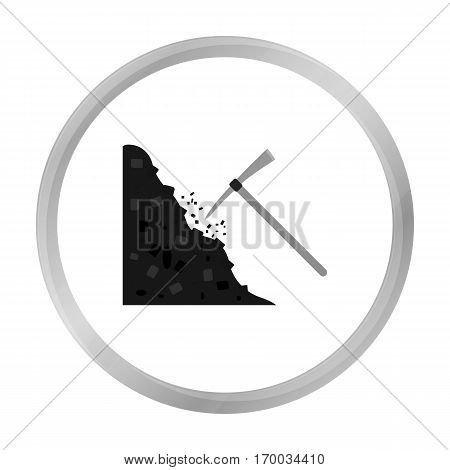 Pickaxe icon in monochrome style isolated on white background. Mine symbol vector illustration.