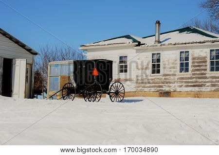 Amish buggy in winter (central Wisconsin)  USA