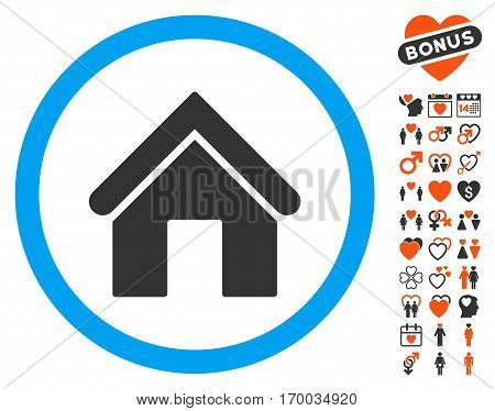 Home icon with bonus decoration pictograms. Vector illustration style is flat iconic elements for web design app user interfaces.