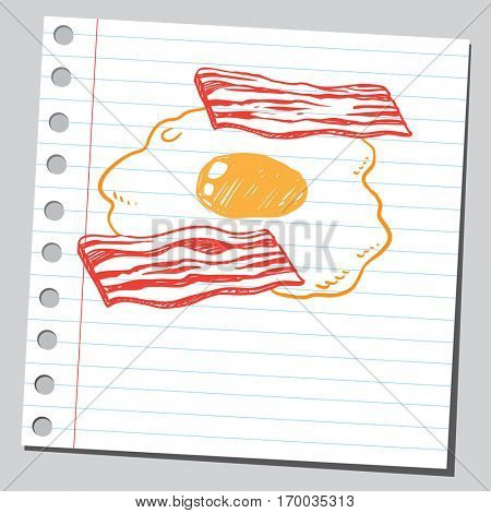 Grilled crisp bacon with egg