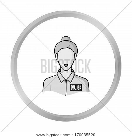Museum guide icon in monochrome style isolated on white background. Museum symbol vector illustration.