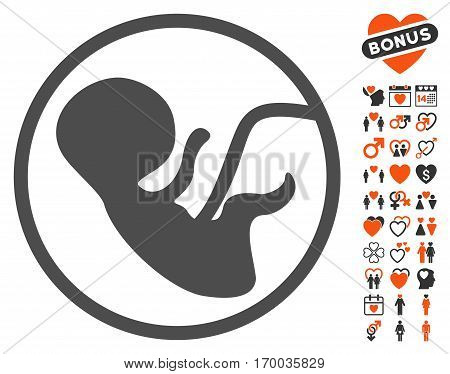Human Embryo icon with bonus marriage pictograms. Vector illustration style is flat iconic symbols for web design app user interfaces.