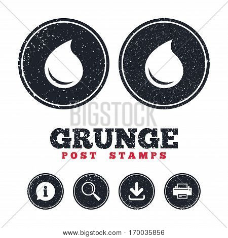 Grunge post stamps. Water drop sign icon. Tear symbol. Information, download and printer signs. Aged texture web buttons. Vector