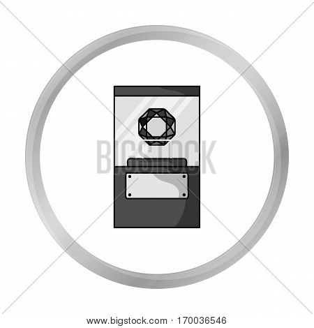 Diamond on a pedestal icon in monochrome style isolated on white background. Museum symbol vector illustration.