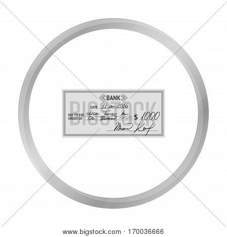 Cheque icon in monochrome style isolated on white background. Money and finance symbol vector illustration.