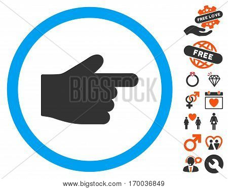 Index Finger icon with bonus decoration pictograms. Vector illustration style is flat iconic elements for web design app user interfaces.